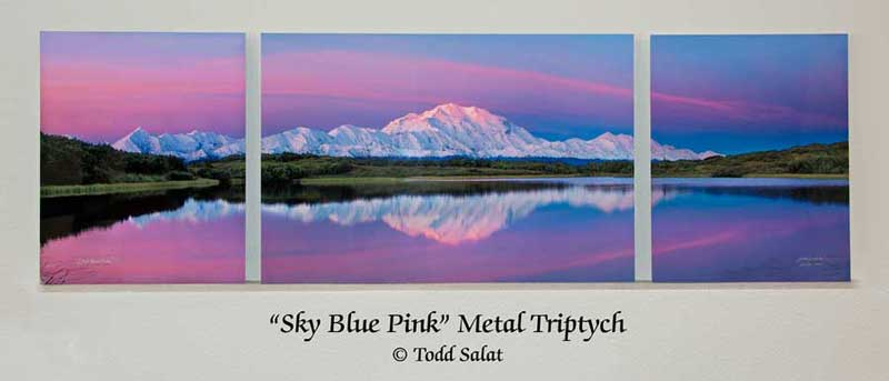 Sky Blue Pink Canvas Triptych