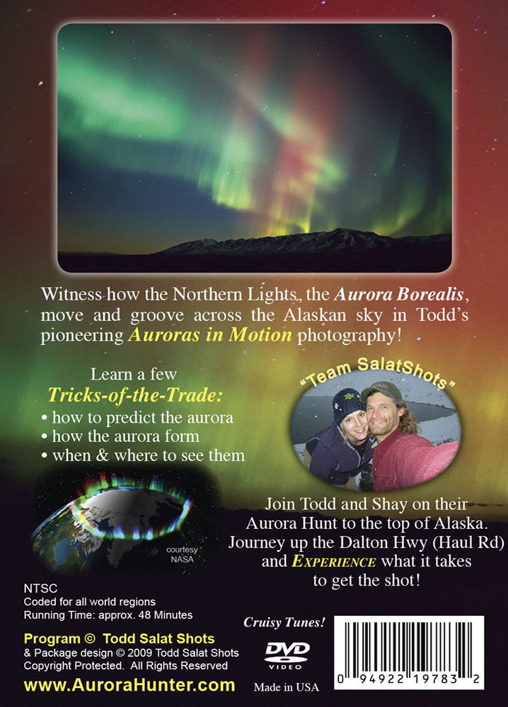 Alaska Aurora Hunting DVD back cover